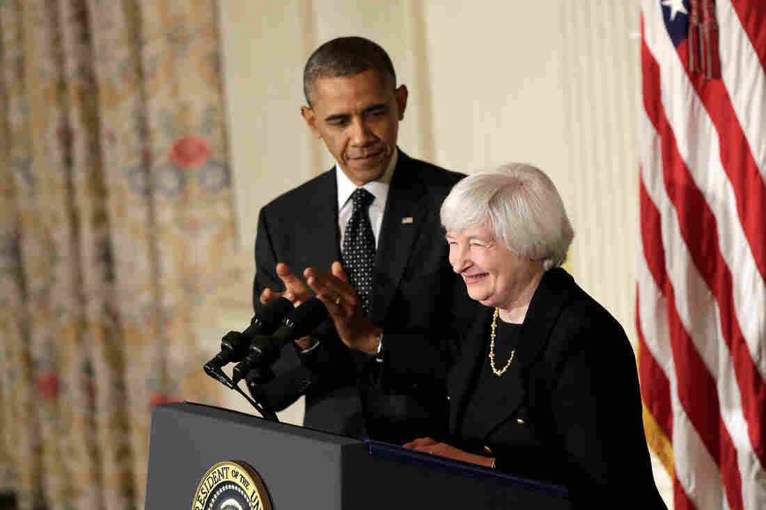 President Obama claps during a press conference to nominate Janet Yellen to head the Federal Reserve in the State Dining Room at the White House on Wednesday.