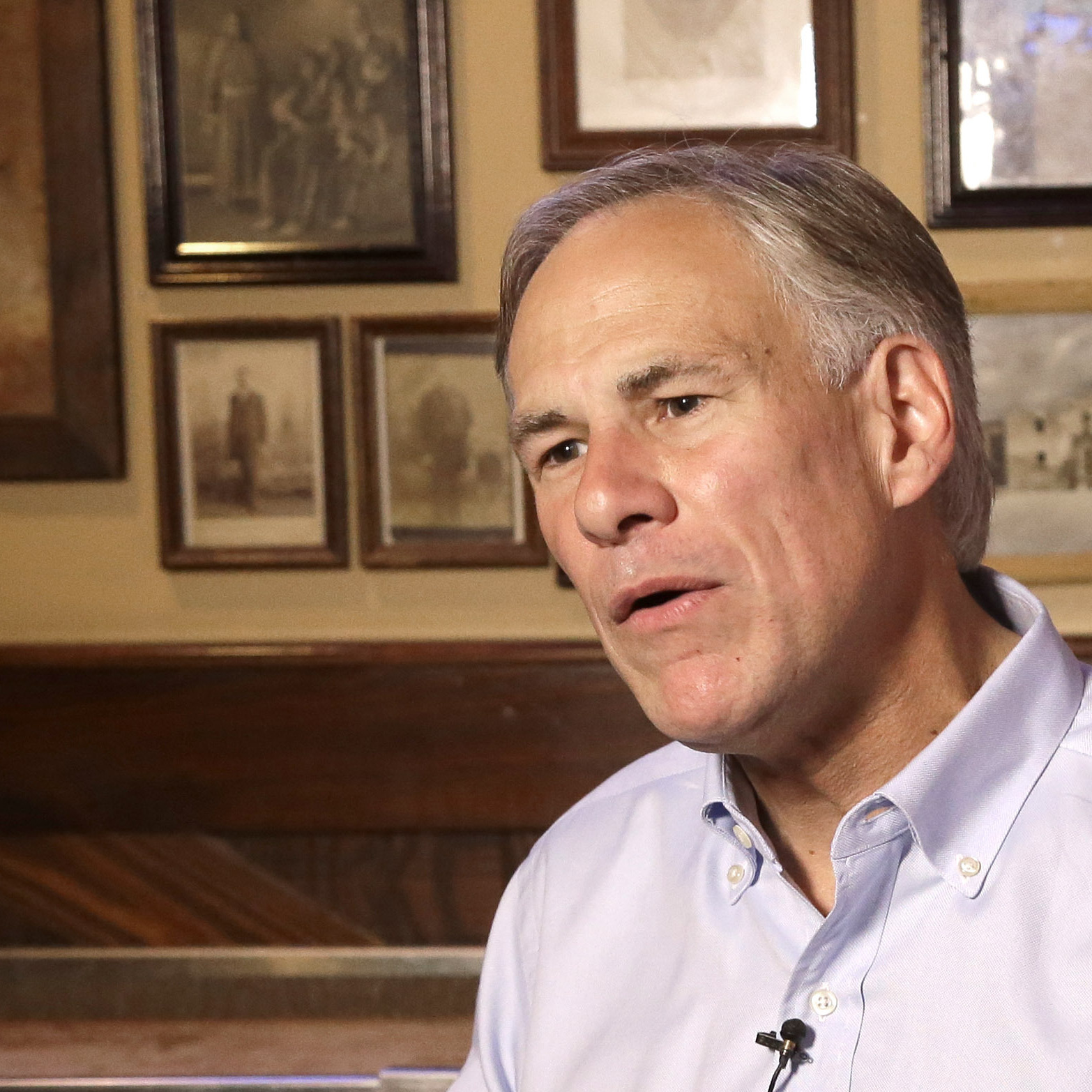 Texas Attorney General Greg Abbott, a Republican candidate for governor, gives an interview in Houston in July.