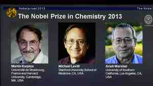 A screenshot of the Nobel Prizes webpage showing the 2013 chemistry laureates Martin Karplus, Michael Levitt and Arieh Warshel.