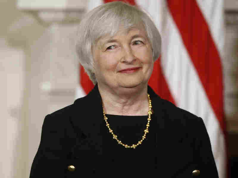 President Obama's nominee to lead the Federal Reserve, Janet Yellen, stands in the State Dining Room of the White House on Wednesday. If Yellen's nomination is confirmed by the Senate, she'll be the first woman to head the Federal Reserve System.