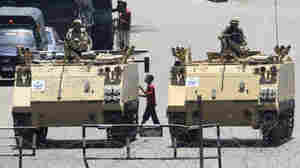 Armored vehicles blocking Tahrir Square in Cairo, Egypt, in August.