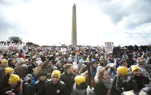 Thousands of protesters gather on the National Mall in Washington in February 2013 calling on President Obama to reject the Keystone XL oil pipeline from Canada and act to limit carbon pollution from power plants.