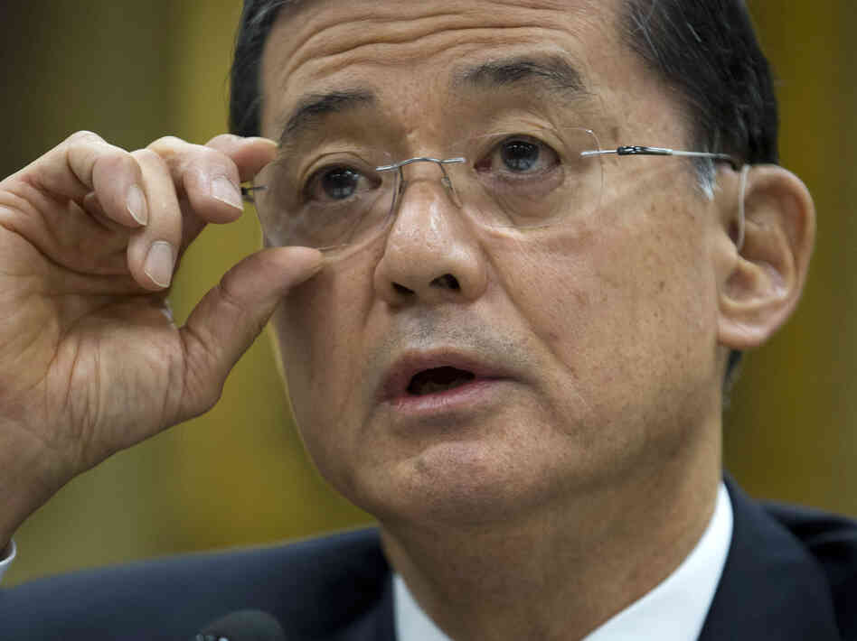 Veterans Affairs Secretary Eric Shinseki testifies on Capitol Hill in April.