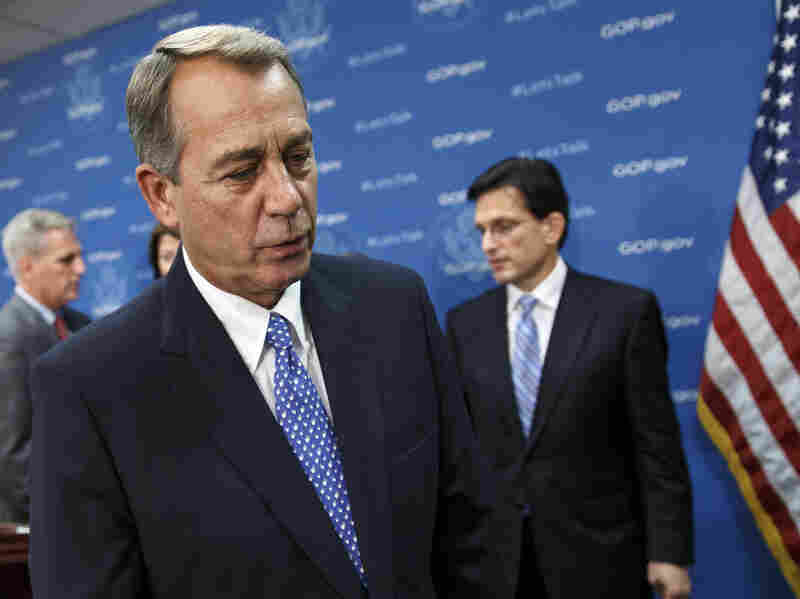 House Speaker John Boehner, accompanied by GOP Reps. Kevin McCarthy, Cathy McMorris Rodgers and Eric Cantor, spoke to the press Tuesday, as the partial government shutdown entered its second week.