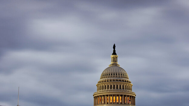 The skies over the U.S. Capitol on Monday matched the mood as the partial government shutdown drags on and the nation edges closer to a possible default.