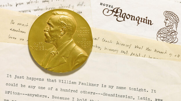 This undated photo provided by Sotheby's shows the 1950 Nobel Prize medal awarded to William Faulkner and a draft of his acceptance speech for his Nobel Prize in Literature.