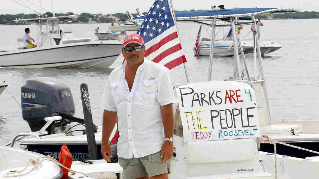 A sport fishing guide in the Florida Keys protests the closure of Everglades National Park waters for fishing as part of the U.S. government shutdown.