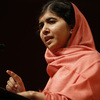 Malala Yousafzai addresses students and faculty after receiving the 2013 Peter J. Gomes Humanitarian Award at Harvard University in Cambridge, Mass., last month.