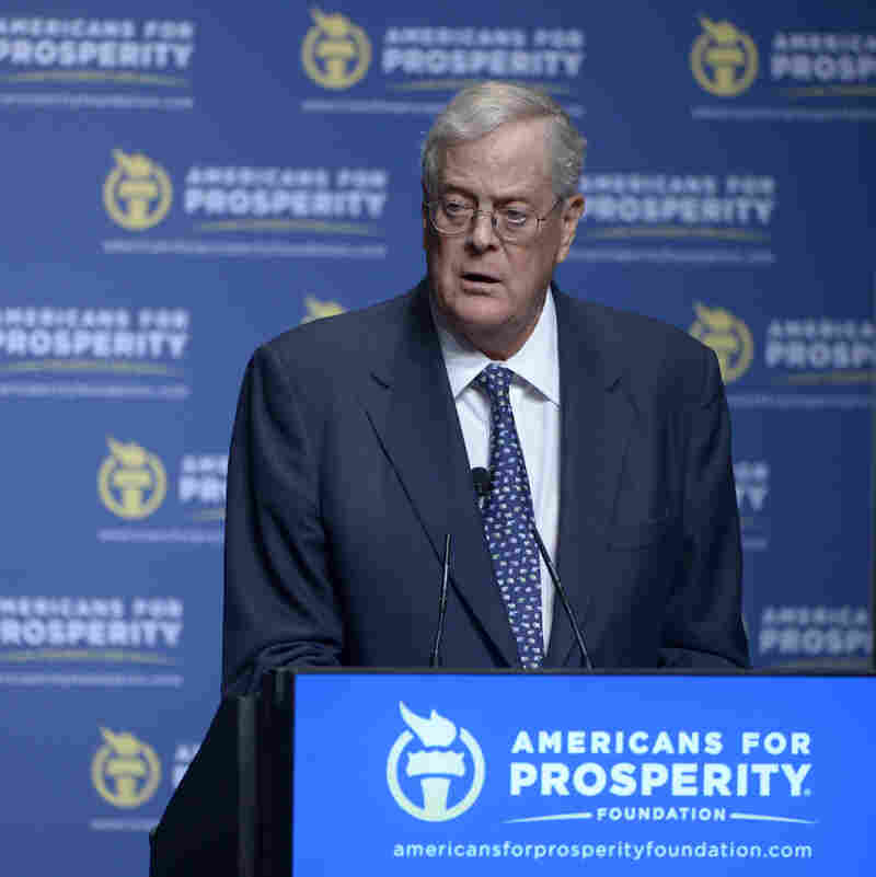 David Koch addresses attendees of the Defending the American Dream Summit in Orlando, Fla., on Aug. 30.