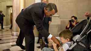 House Speaker John Boehner shows his softer side Thursday before resuming his tough guy role in the fiscal fight.