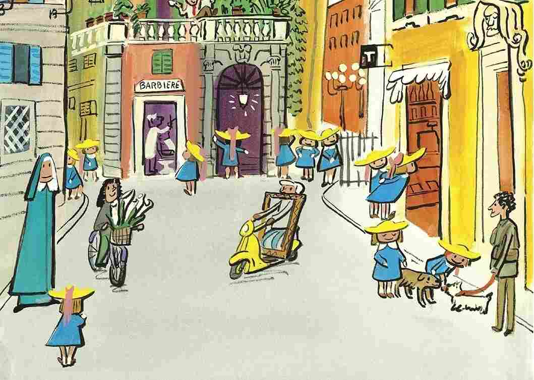A page from John Bemelmans Marciano's Madeline and the Cats of Rome.