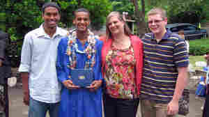"Wilma Stordahl with her sons (from left) Kevin, Kazon and Kenneth at Kazon's high school graduation. ""We think of Norwegians as being tall and blond and blue-eyed,"" Stordahl says. ""My sons are tall — but they're not blond and blue-eyed."""