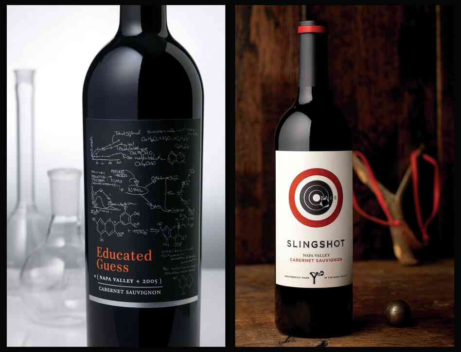 When a label goes for something whimsical, it must be clever, too — like these chemical reactions, which actually occur during fermentation. (Full disclosure: I have personally bought the wine on the left because I'm a sucker for chemistry that's correct.) At right: The label