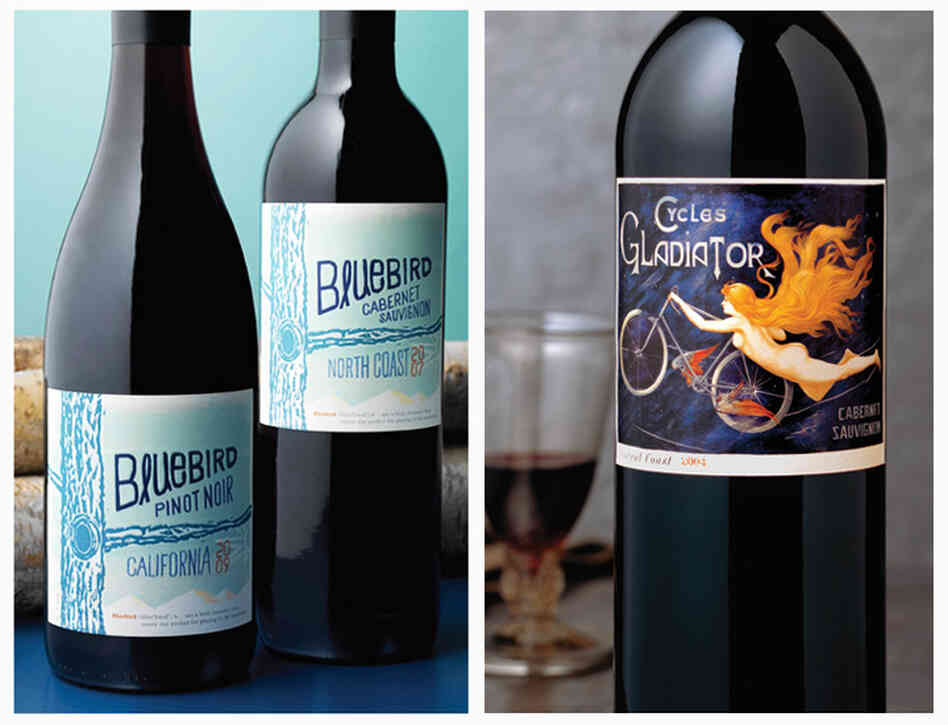 Left: A hand-drawn typeface on Bluebird wines conveys a youthful, innovative feeling, while the puffy, raised lettering makes the $12.99 bottle appear more expensive. Right: When the Hahn family switched their cabernet sauvignon to this label, the wine started flying off the shelves — and its image of a naked lady helped get it banned in Alabama.