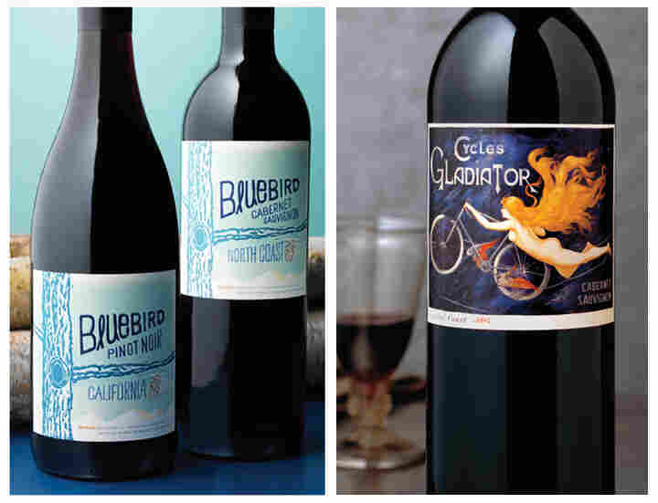 Left: A hand-drawn typeface on Bluebird wines conveys a youthful, innovative feeling, while the puffy, raised lettering makes the $12.99 bottle appear more expensive. Right: When the Hahn family switched their cabernet sauvignon to this label, the win