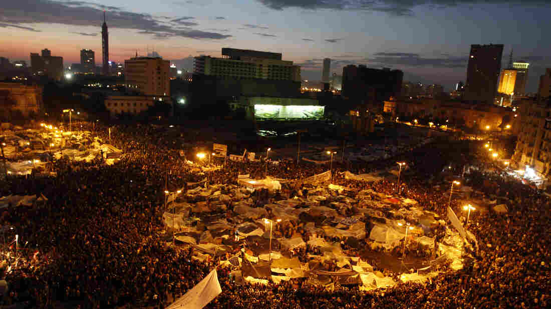 Anti-government demonstrators crowd Cairo's Tahrir Square in February 2011. A report from HSBC says Egypt and other Arab Spring countries will lose a total of $800 billion by the end of next year because of the unre