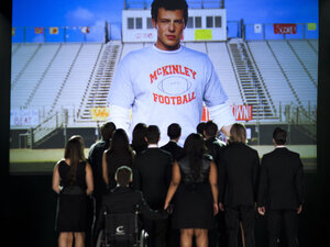 "Glee remembered Cory Monteith in Thursday night's episode, ""The Quarterback."""