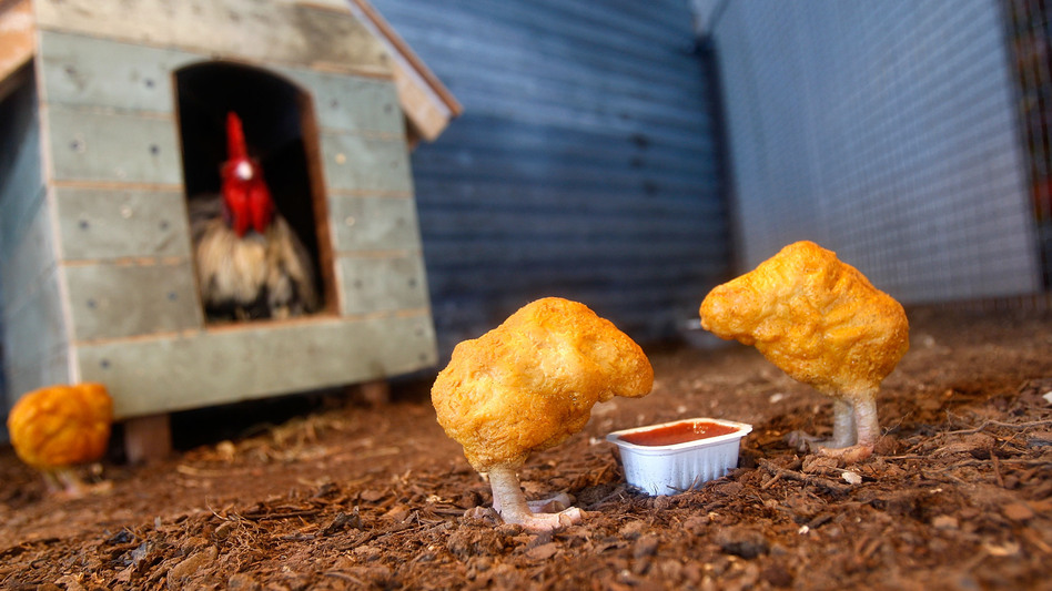 """<em>Chicken Nuggets</em>, from artist Banksy's 2008 installation """"The Village Pet Store and Charcoal Grill"""" in New York City."""