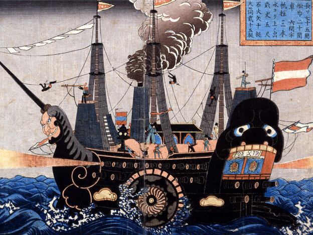 """The arrival of Commodore Matthew C. Perry's """"black ships"""" in Tokyo Bay in 1853 helped persuade the Japanese to negotiate a treaty. Perry had more firepower than all the coastal artillery defending Tokyo Bay."""