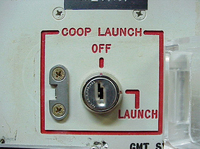 The launch-key mechanism at the deactivated Delta Nine Launch Facility near Wall, S.D., in 2002.