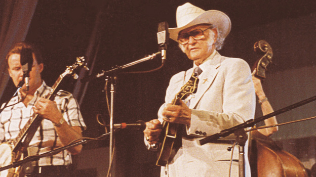 Bill Monroe performing live on Mountain Stage in 1989. (Mountain Stage)