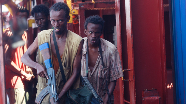 Barkhad Abdi (middle) plays Muse, the leader of a band of Somali pirates who take over a freighter in Captain Phillips. (Columbia Pictures)