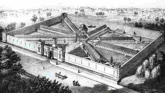 An engraving of Eastern State Penitentiary as it appeared in 1855. Its revolutionary wagon-wheel design, which allowed one guard to view all seven original cellblocks from a single spot in the rotunda, became a model for prisons, schools and hospitals all over the world.