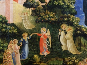 Detail from the 15th century work Last Judgment, by Giovanni da Fiesole, also known as Fra Angelico, depicting dancing angels, saints and the gate of heaven.