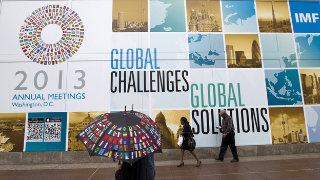 The annual meetings of the International Monetary Fund and World Bank began Thursday in Washington amid a partial government shutdown. Many delegates are concerned that the U.S. budget impasse may threaten global economic stability. (AP)