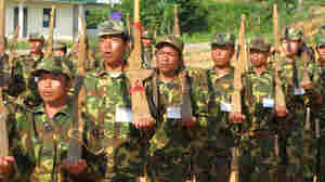 Members of the Kachin Independence Army train at a refugee camp in northern Myanmar.