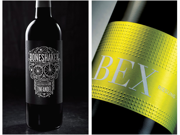 Hip and modern: The skull and bicycle gears on the Bone Shaker label speak to the hipster in all of us, while the clean, bold design of the BEX riesling sets it apart from other stodgy European labels and evokes the precision of German auto engineering.
