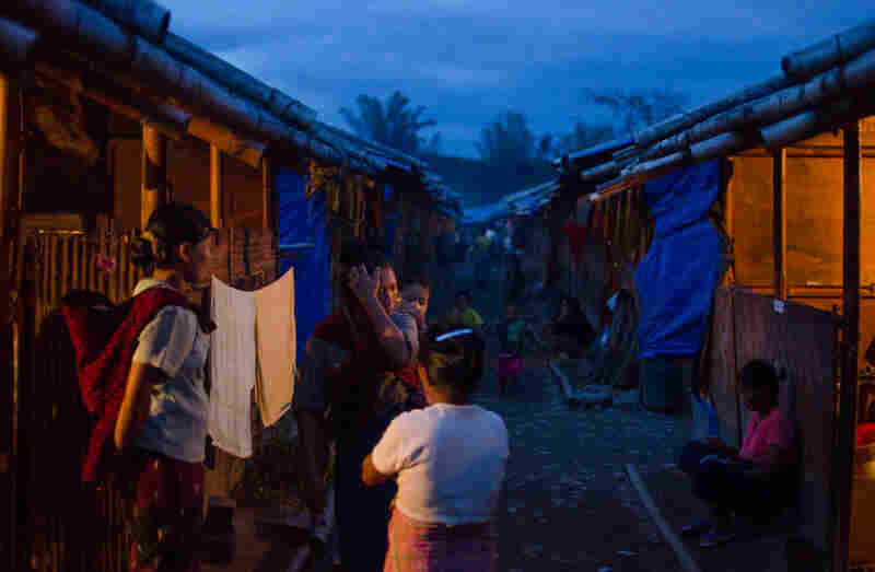 Evening falls at a refugee camp in rebel-held northern Myanmar for Kachin people displaced by fighting between the Burmese government and the KIA.