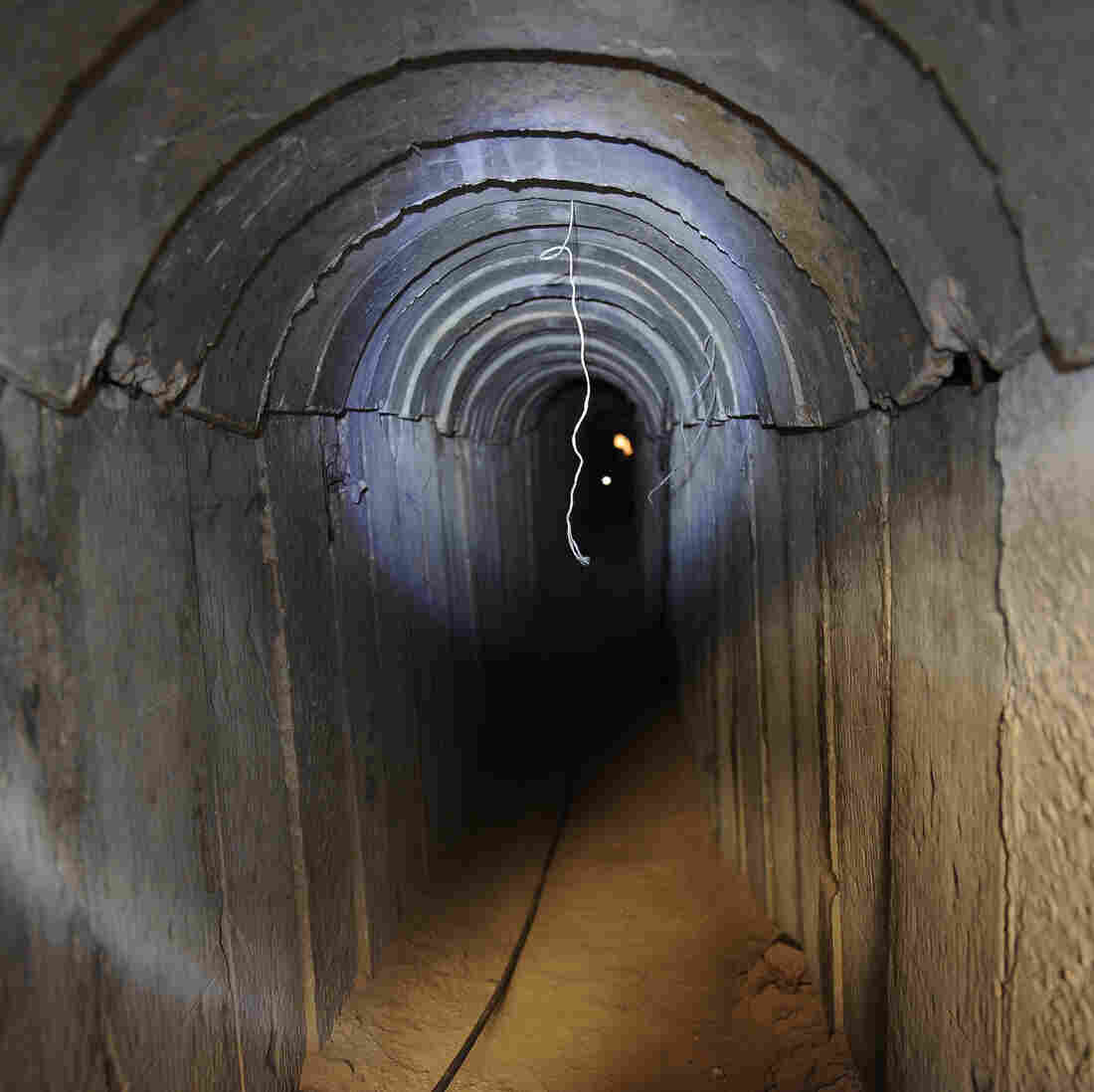 A view of a tunnel reportedly dug by Palestinians beneath the border between the Gaza Strip and Israel and recently uncovered by Israeli troops, on Sunday.