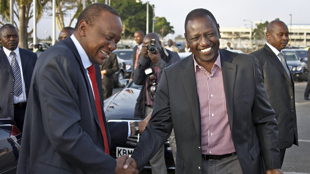 Kenyan President Uhuru Kenyatta (left) and Deputy President William Ruto face charges in the International Criminal Court at The Hague of instigating and financing deadly tribal violence in Kenya after that country's disputed 2007 election.