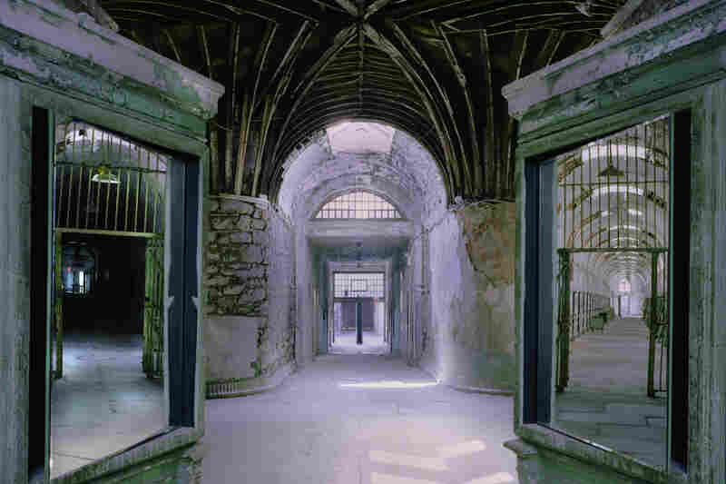 Cellblocks 8 and 9 were added to the radial plan in 1877 to accommodate more prisoners; however, guards could not see down those corridors without the use of surveillance mirrors, seen here at left and right.