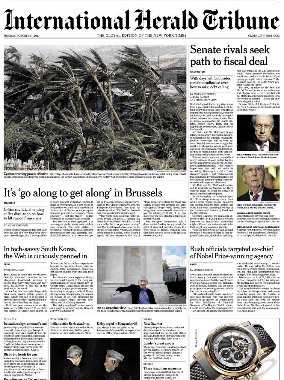 An image showing the final front page of The International Herald Tribune, published