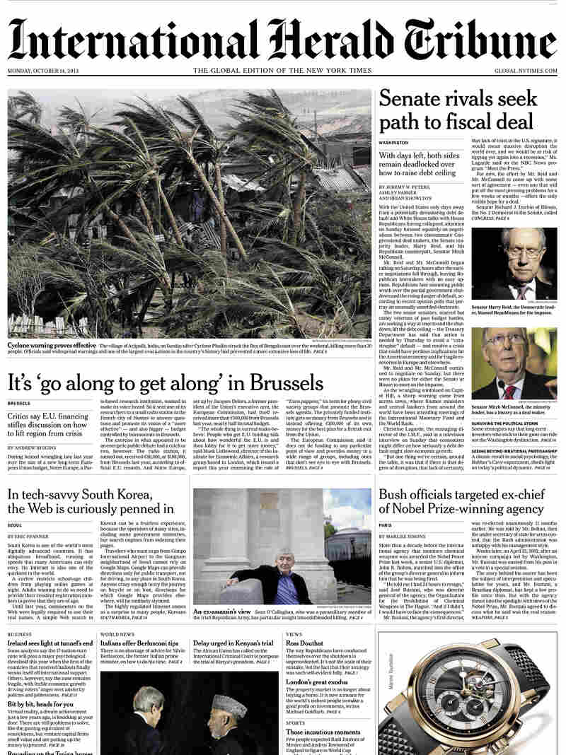 An image showing the final front page of The International Herald Tribune, published Monday Oct. 14. The newspaper will become The International New York Times Tuesday.