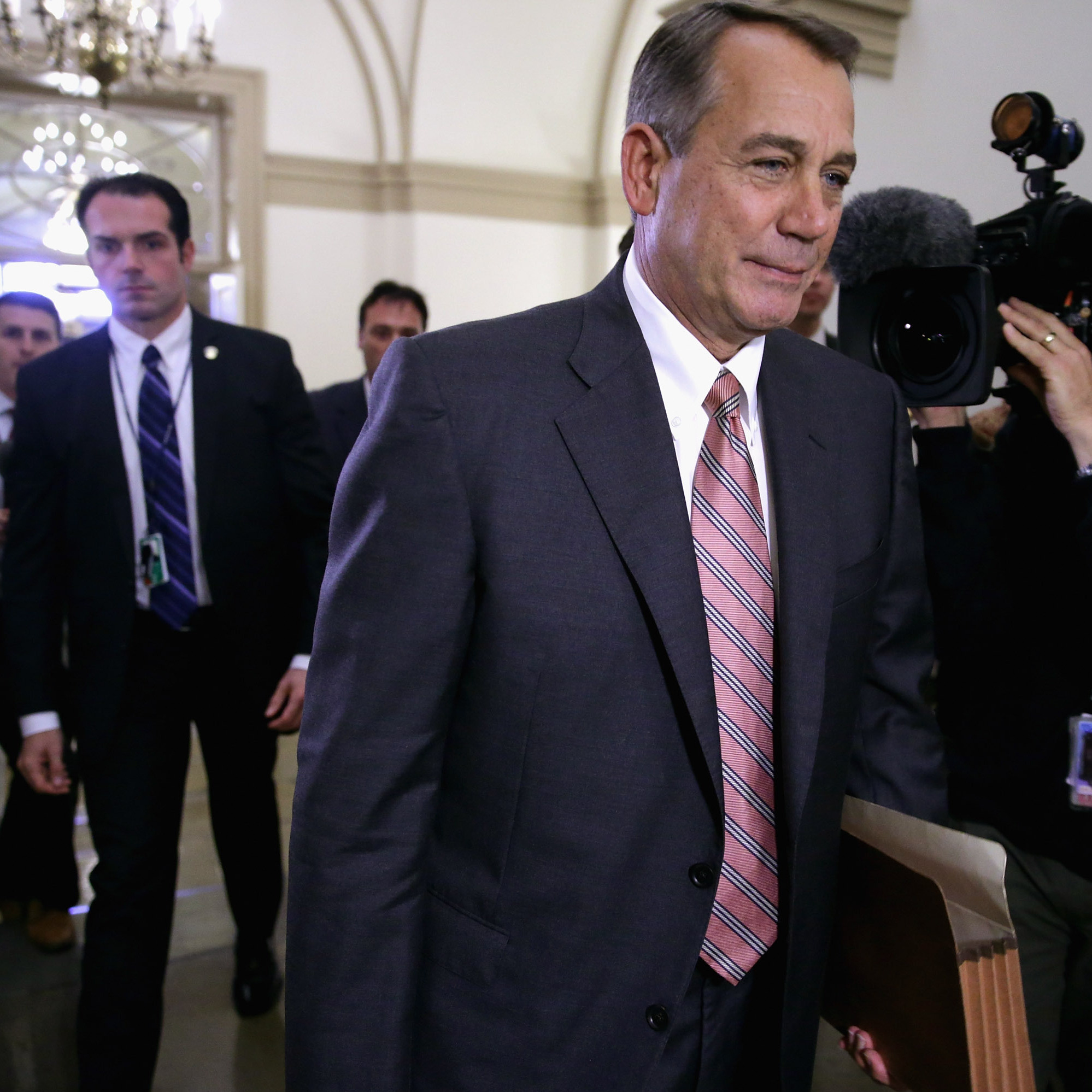 Speaker of the House John Boehner arrives at the U.S. Capitol on Monday. House Republicans remain an obstacle to any emerging deal.