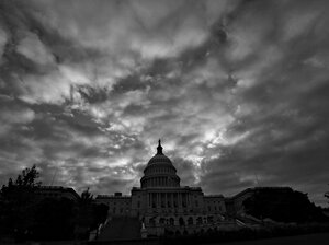 Cloudy skies shroud the Capitol on