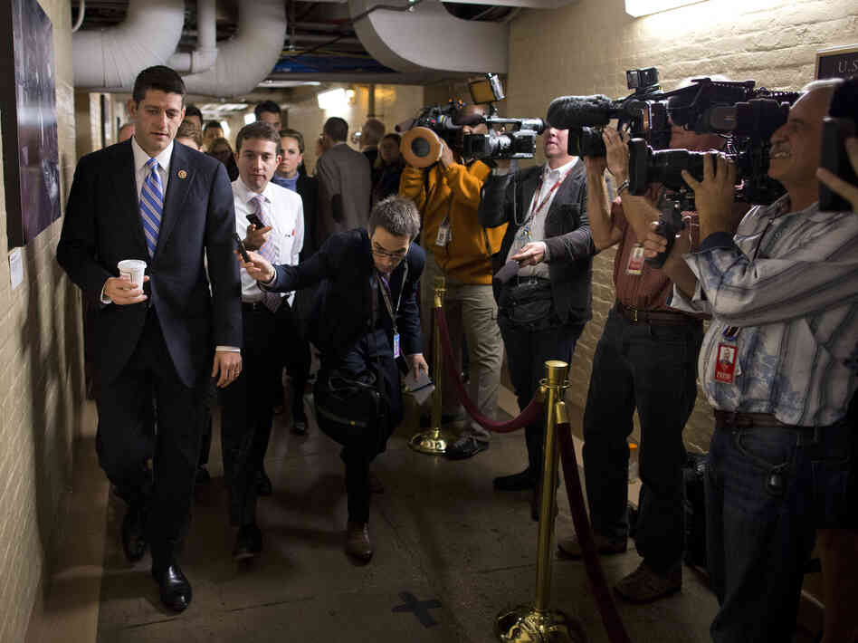 Wisconsin Rep. Paul Ryan, the House Budget Committee chairman, walks to a GOP meeting Tuesday.