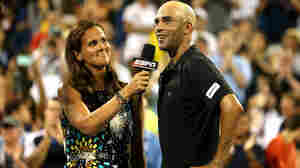 James Blake addresses the crowd during an interview with Mary Joe Fernandez after losing on day three of the 2013 U.S. Open.