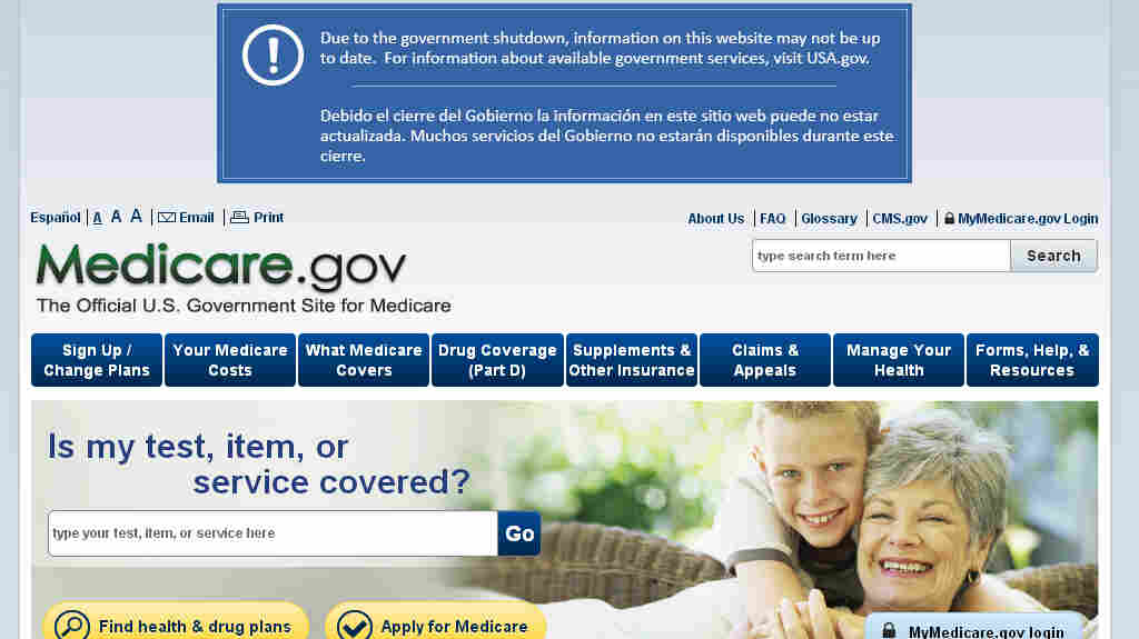 "An image taken from the Medicare website shows a message warning users that ""information on this website may not be up to date,"" a situation blamed on the federal shutdown."