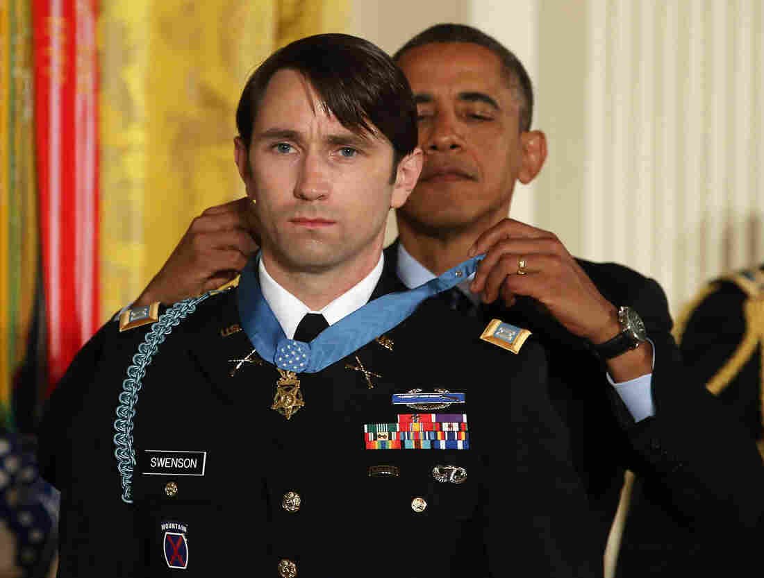President Obama gives former U.S. Army Capt. William Swenson the Medal of Honor during a ceremony at the White House on Tuesday.