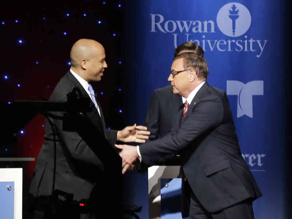 Democrat Cory Booker and Republican Steve Lonegan