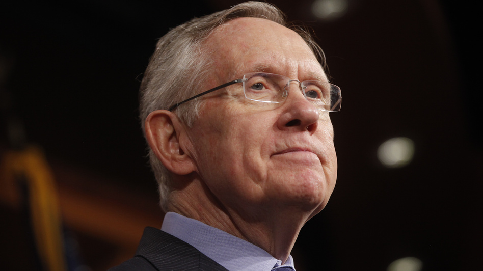 Senate Majority Leader Harry Reid of Nevada listens to a reporter's question about a meeting with Senate Republicans. (AP)