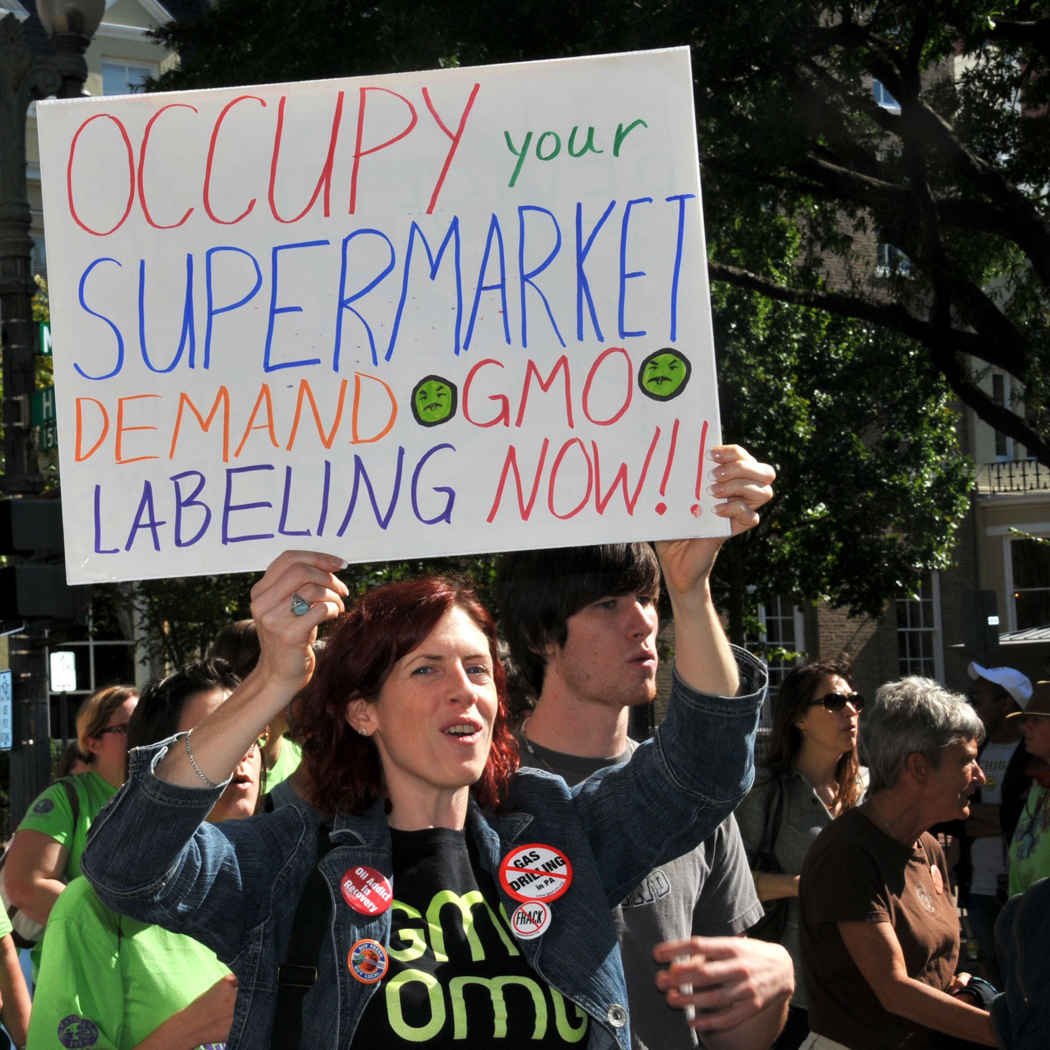 Protesters demand labels for genetically modified food, in Washington, D.C., in 2011. The campaign to label GMO foods is gaining ground in the Northeast.