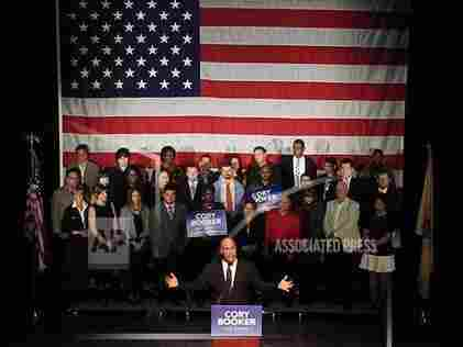 Sen.-elect Cory Booker of Newark, N.J., talks to supporters during his victory party Wednesday night. Booker was elected to fill the seat of the late Frank Lautenberg.