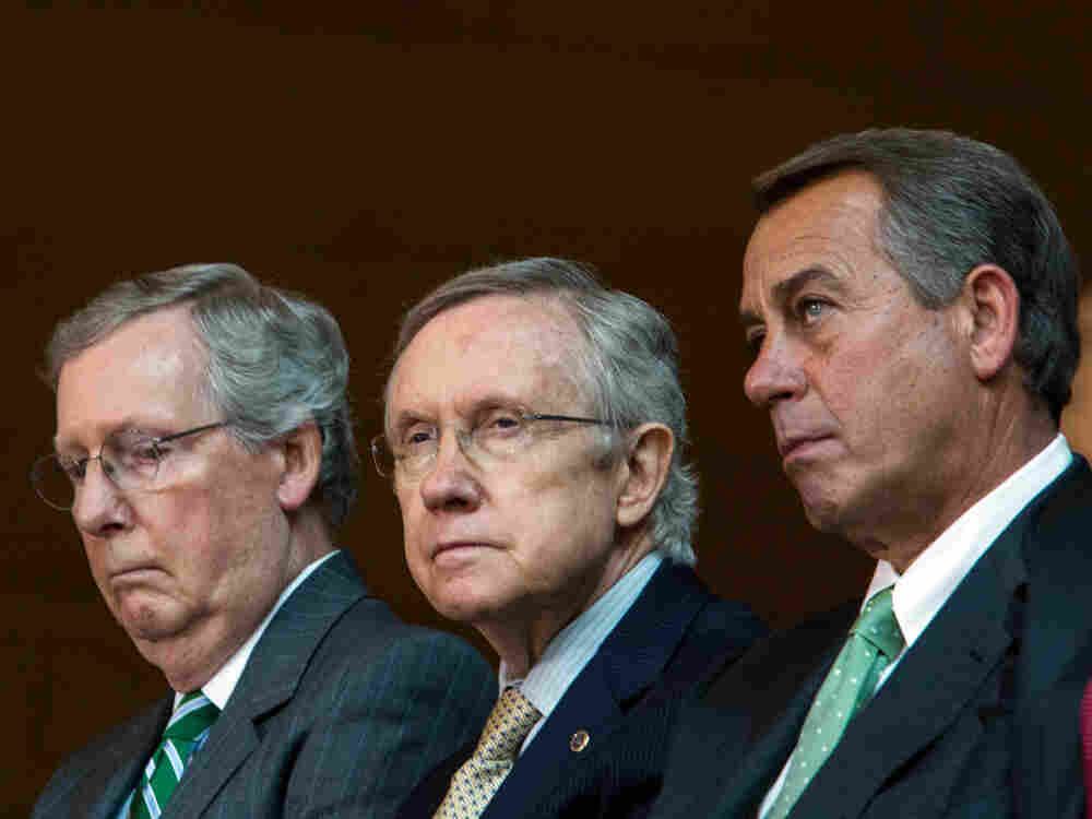 Senate Minority Leader Mitch McConnell (left), Senate Majority Leader Harry Reid (center), and Speaker of the House John Boehner are three key lawmakers in the government shut down and debt ceiling crisis.