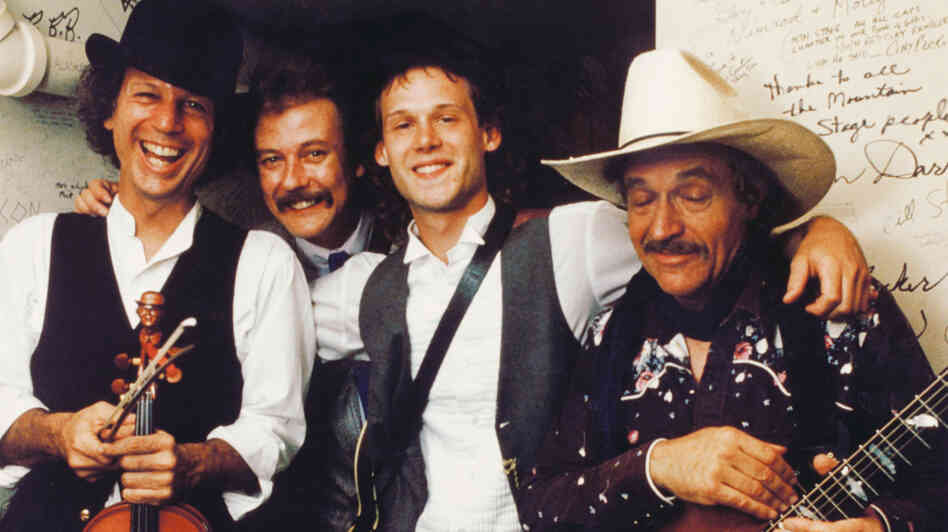 From left to right: John Hartford, Tony Rice, Jamie Hartford and Ramblin' Jack Elliott at Mountain Stage in 1989.