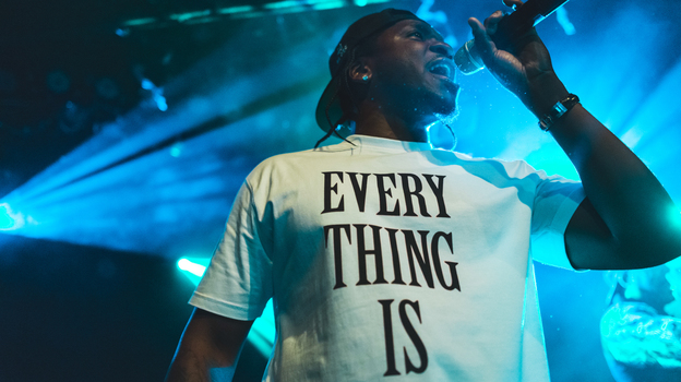 Pusha T performs live at NPR Music's showcase at Le Poisson Rouge in New York City on Wednesday, Oct. 16. (Loren Wohl for NPR)